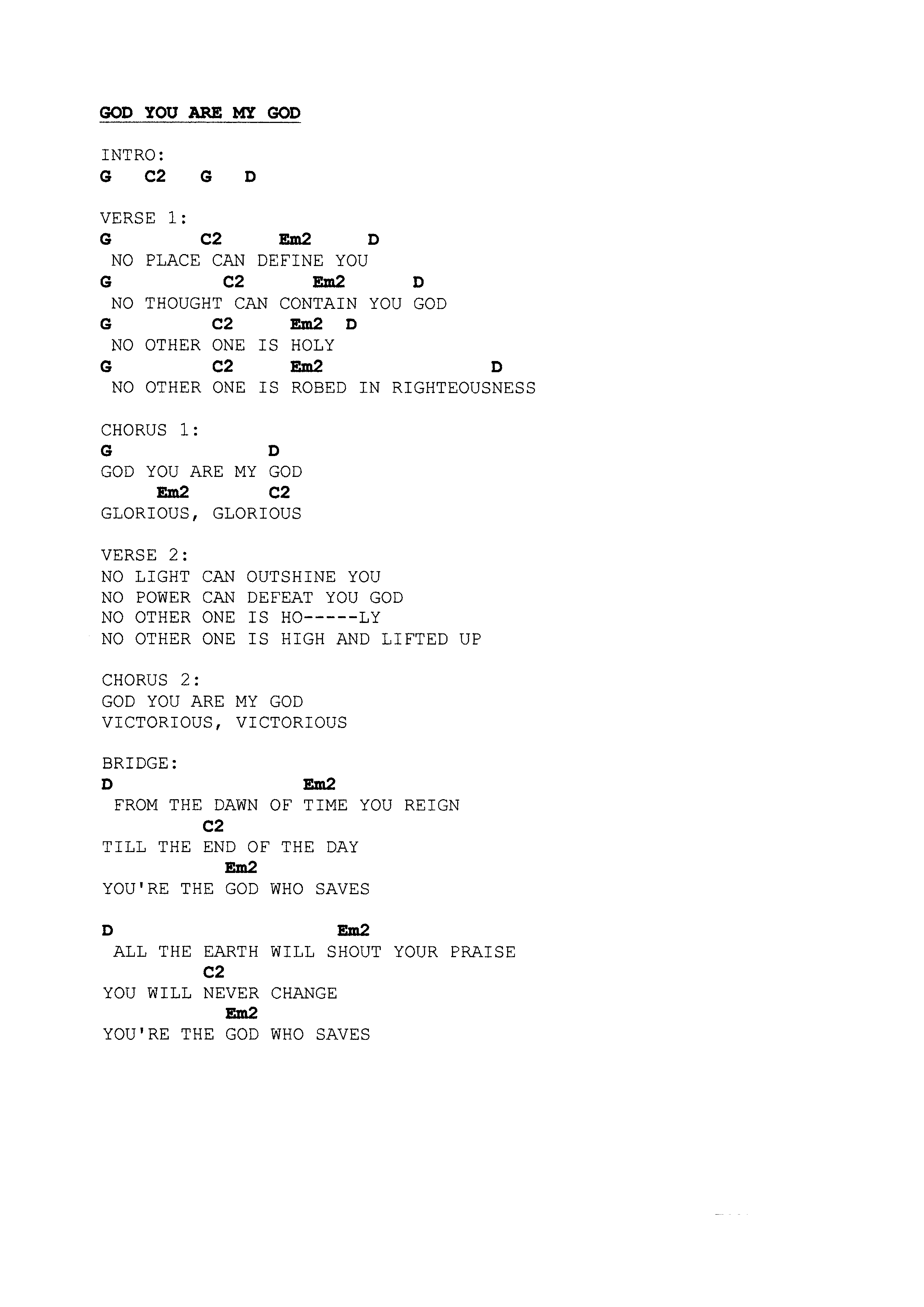 Praise worship chords page 12 the idiot in me god you are my god hexwebz Choice Image